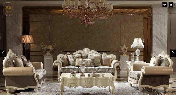 【多莱斯】客厅篇— 皮+布实木沙发 欧式风格元素 hs