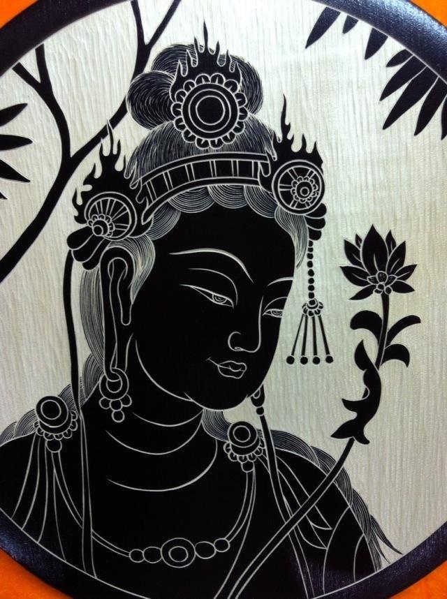 「敦煌风」手工木刻画莫高窟莫高窟57窟拈花微笑
