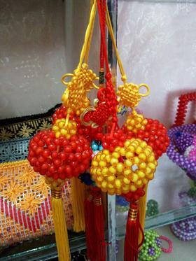 手工串珠灯笼汽车挂件成品仿水晶珠子diy编织工艺品制作
