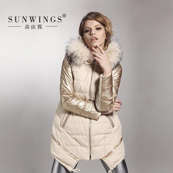 森依霖冬装女装a字斗篷型中长款羽绒服超大貉子毛领韩版时尚外套图片