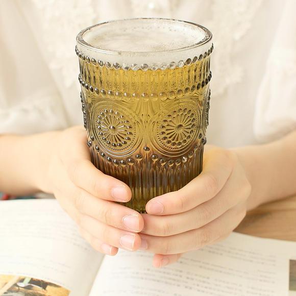 欧式复古浮雕玻璃杯子 透明水晶杯果汁杯水杯 茶杯
