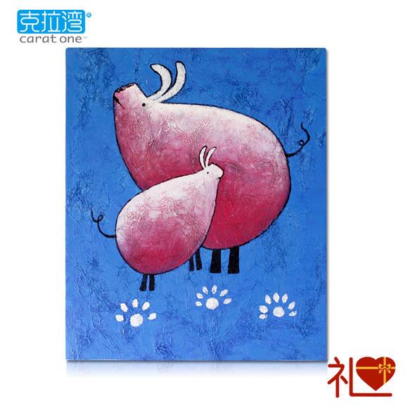 【克拉湾】创意个性抽象猪 高档手绘油布画抽象画礼品