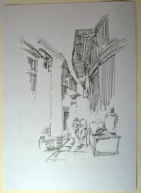 素描风景,建筑画