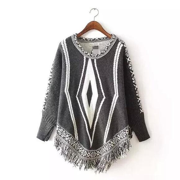 欧美版流苏蝙蝠袖针织衫斗篷披肩 wxy23917