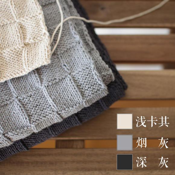 棋盘格围巾编织教程