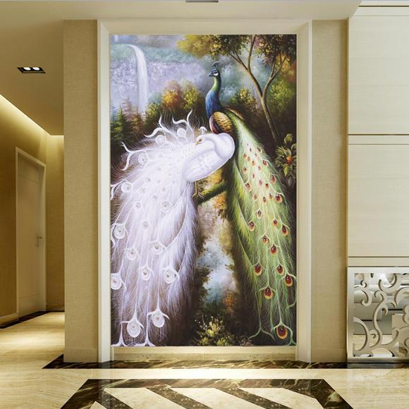 3d立体过道壁纸欧式电视背景墙纸玄关壁画无纺布走廊个性孔雀图