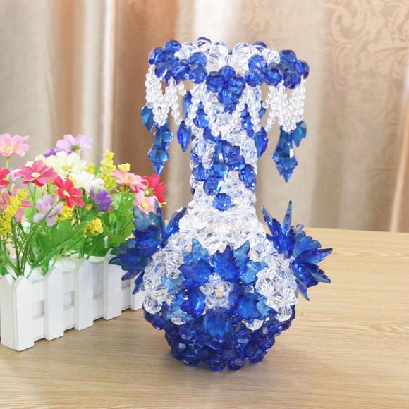 diy手工编织饰品串珠吊坠花瓶 一对(两只)家居客厅摆件摆饰