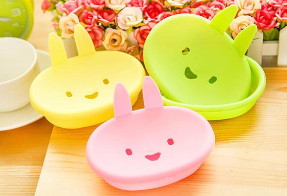 卡通可爱小兔子香皂盒 颜色随机