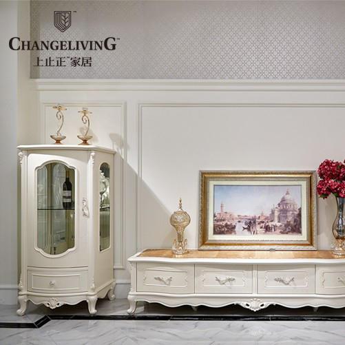 上止正家具 简约新古典欧式实木玻璃单门酒柜 客厅酒柜电视柜组合
