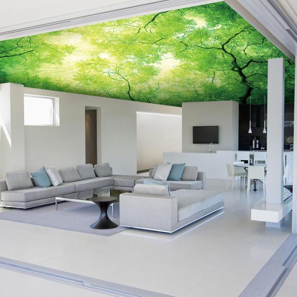 欧式大型壁画 田园绿色树木 顶棚天花吊顶 壁纸墙纸 简约3d空间