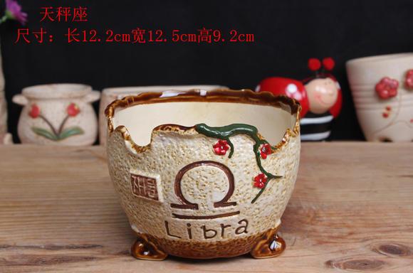 12星座多肉植物花盆 zakka陶瓷花盆 陶瓷彩绘多肉花盆图片