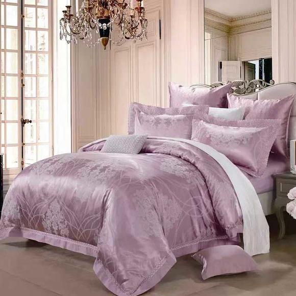晋帛家纺专柜正品 优美莲 紫色欧式宫廷奢华提花四件套2015新品