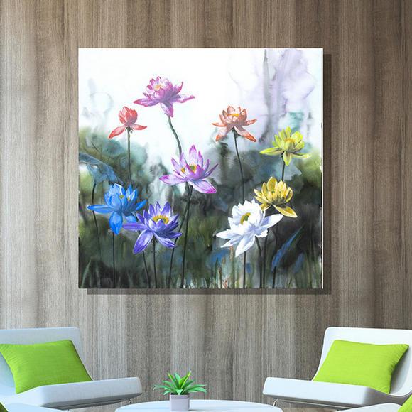 九朵莲花手绘油画玄关客厅家居装饰画