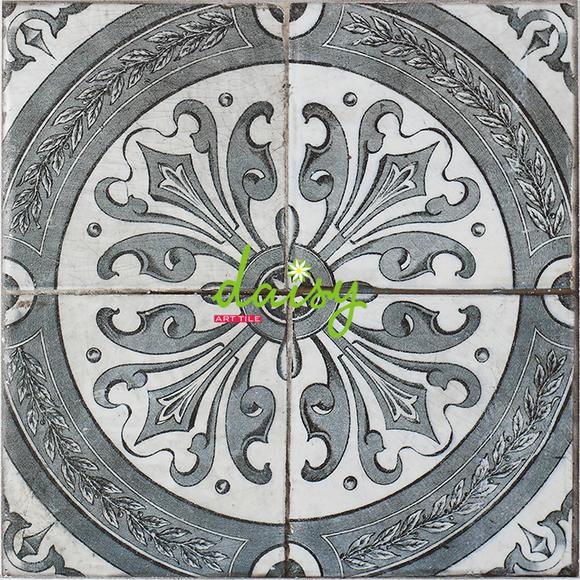 雏菊客厅仿古砖青花瓷瓷砖中式复古花片拼花砖卫生间防滑墙地砖30图片