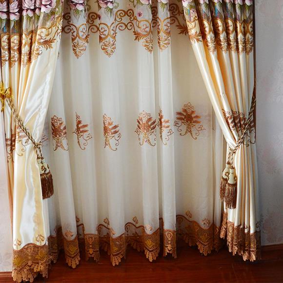 欧式镂空水溶绣花高档 客厅成品定制窗帘