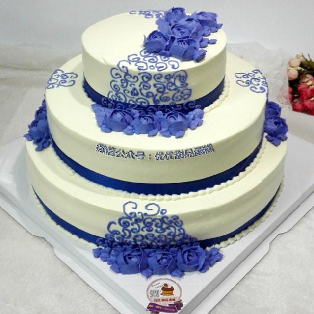 三层青花瓷蛋糕