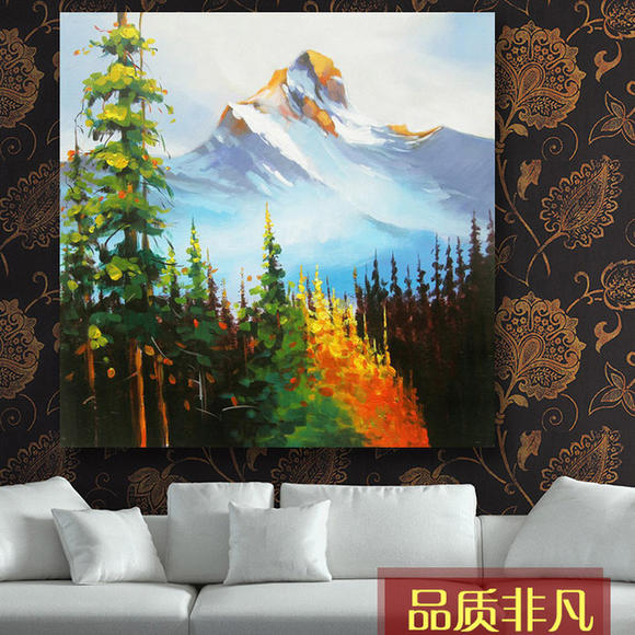 手绘风景油画 高山树林玄关书房装饰画 - 太原软装