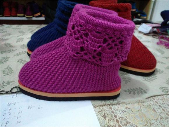 七针坊纯手工编织家居鞋儿童宝宝棉靴独家定制材料包免费提供视频