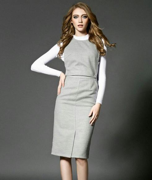 2015秋冬装新款时尚打底针织衫 连体高腰一步裙三件套装女 b030089400