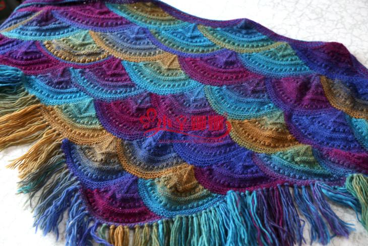 长段染纯羊毛彩虹线 贵妇人披肩帽子围巾外套线 编织钩针材料包线