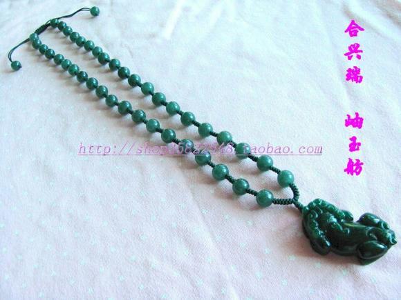 手工编织翡翠玉石貔貅项链
