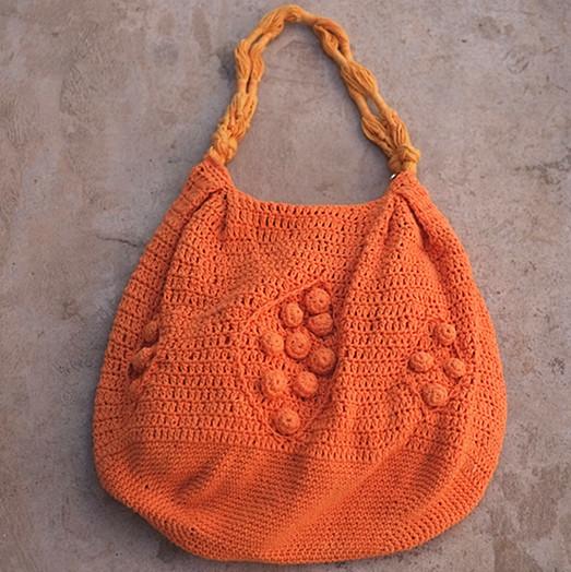 孤品*纯手工钩针橘色棉线包 亮色系 美丽的季节与你相遇