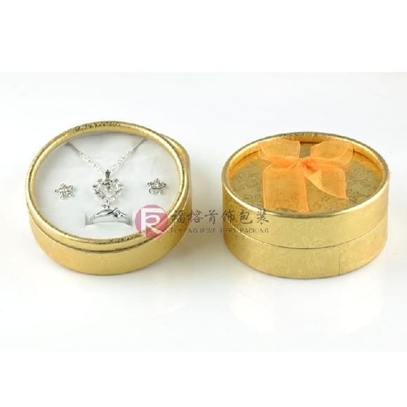 圆形纸盒 银饰盒子 项链/戒指/耳钉包装盒 丝带蝴蝶结礼盒 天地盖(此