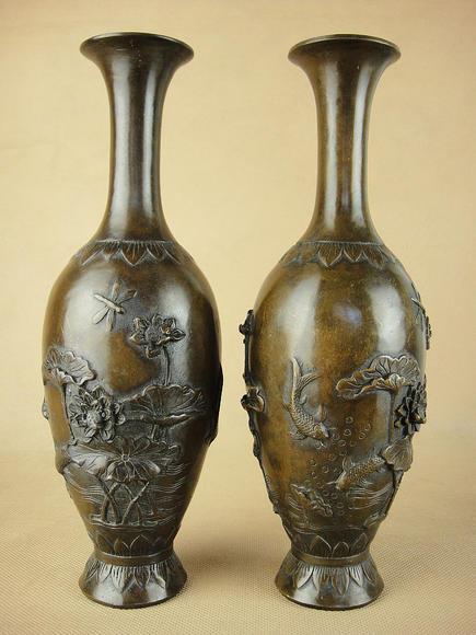 古典铜器荷花鲤鱼大明宣德铜瓶一对2花樽 古色仿古纯铜古铜老花瓶