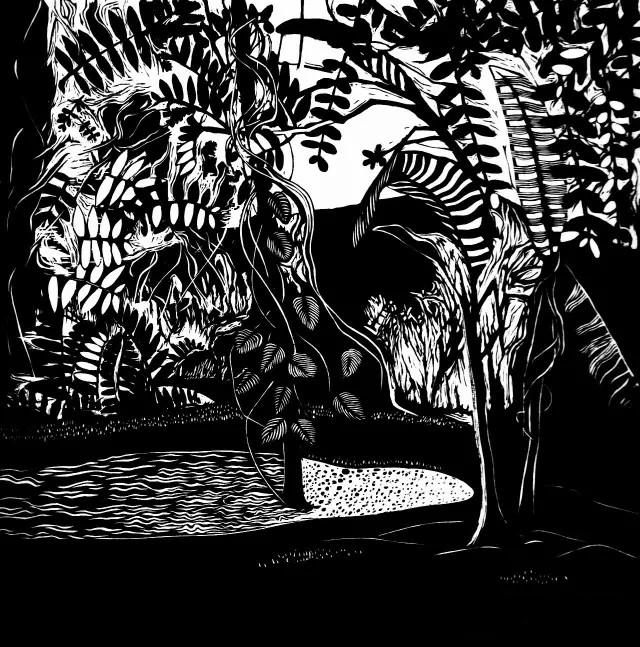 陈莹《秘密花园》黑白木刻 2015 皮纸
