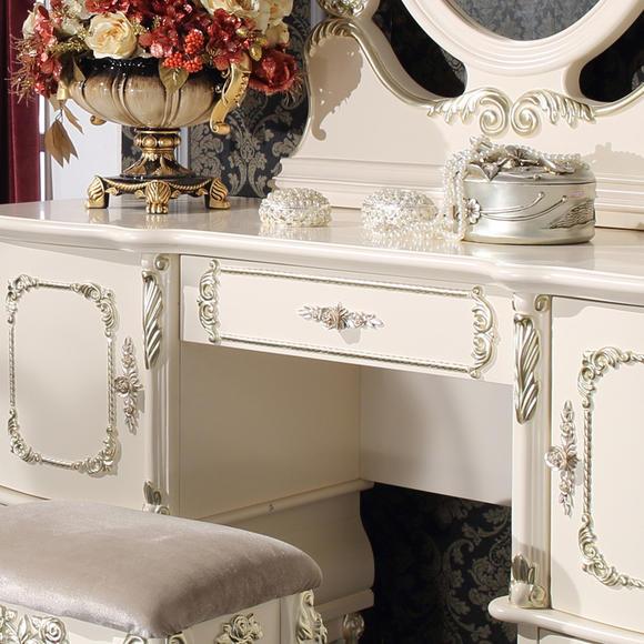 翰普顿 欧式梳妆台 米白色梳妆桌 实木雕花妆台凳 简约欧式家具