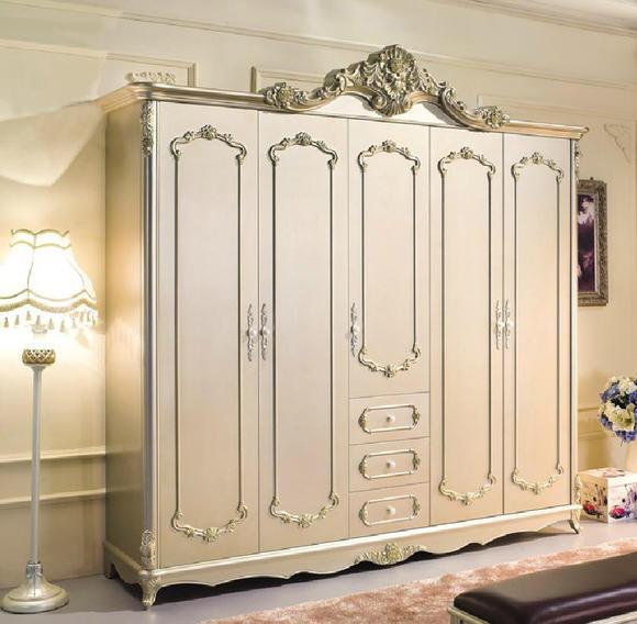 翰普顿 法式衣柜 米白色实木雕花衣柜五门大衣柜整套衣柜特价包邮