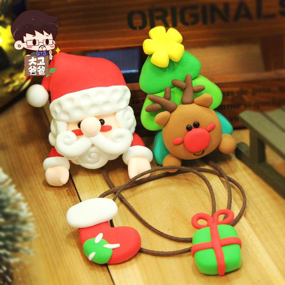 橡皮泥礼物粘土 圣诞老人和麋鹿书签 儿童手工diy制作材料包彩泥