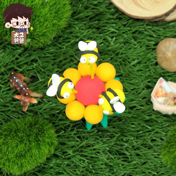 超轻粘土采花蜜的蜜蜂摇摇乐儿童手工diy制作材料包橡皮泥幼儿园