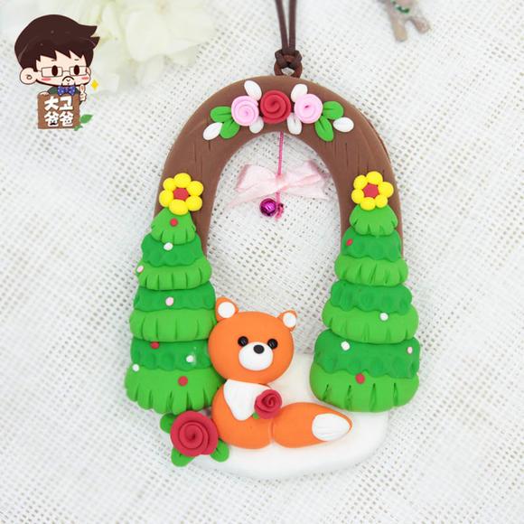 超轻粘土 森林狐狸挂件吊饰儿童手工diy制作材料包幼儿园橡皮泥