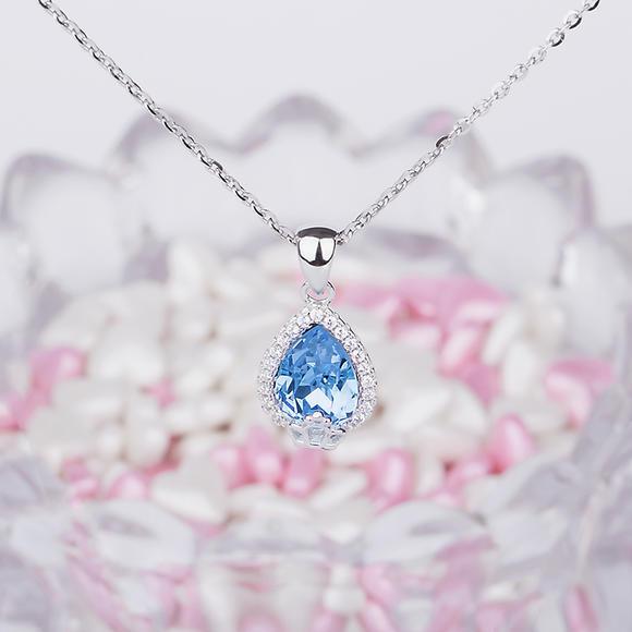 925纯银饰品 可爱皇冠锆石水滴蓝宝石吊坠 水晶项链女