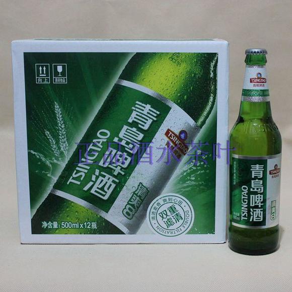 青岛啤酒500ml瓶装清爽8度12瓶整箱