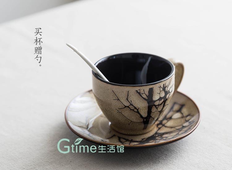 gtime生活馆 手绘复古咖啡杯碟套装 白杨树枝 带勺 陶瓷复古杯子