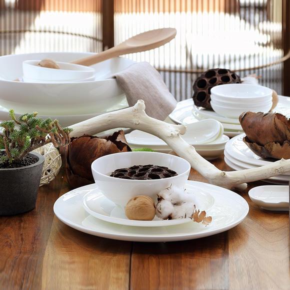 哲品zk餐具套装陶瓷家用景德镇白瓷圆脚碟碗圆形菜盘组合黑川雅之图片
