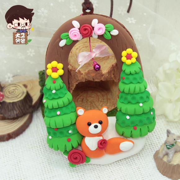 超轻粘土 森林狐狸挂件挂饰儿童手工diy制作彩泥材料