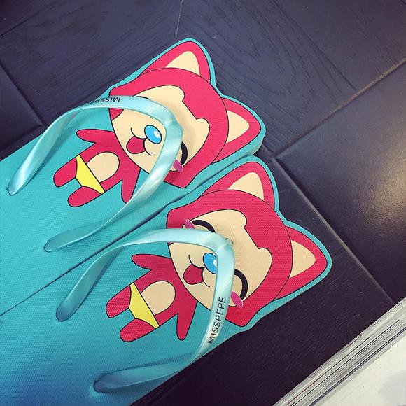 晟峰卡通糖果色阿狸人字拖浴室平底沙滩韩版可爱凉拖鞋厂家批发