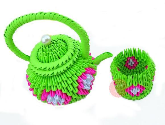 视频教程/三角插折纸/茶壶茶杯买1送2/茶几摆件/幼儿手工材料包