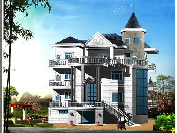 5m*19.9m四层乡村豪宅建筑 结构设计图