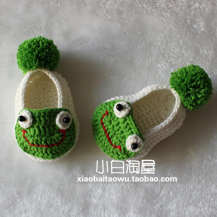 宝宝鞋教程:青蛙宝宝鞋(钩针教程117集)