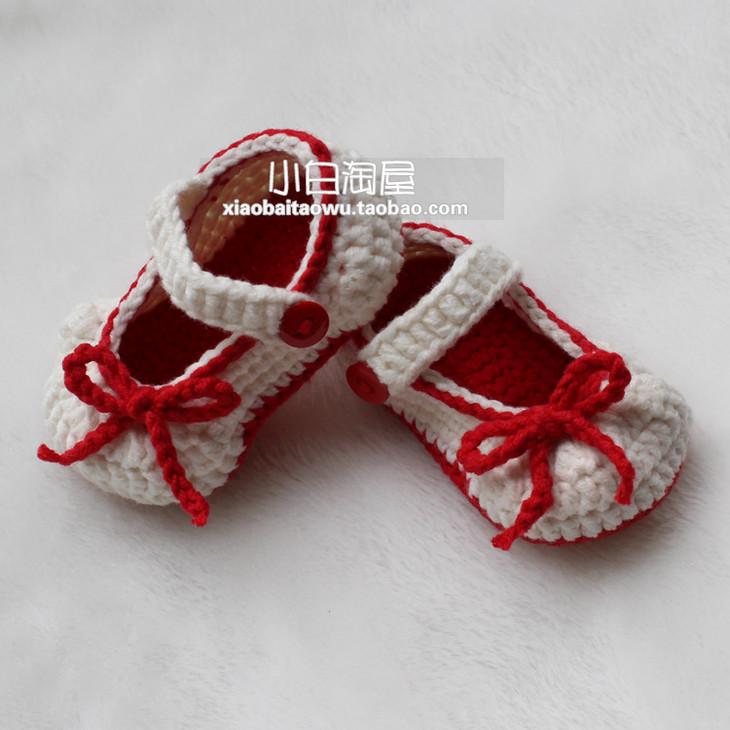 宝宝鞋教程:蝴蝶结宝宝鞋(钩针教程130集)