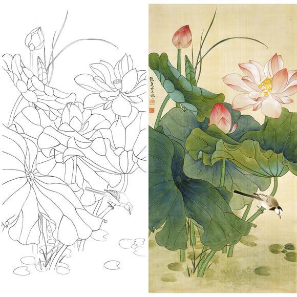 白描底稿-俞致贞工笔竖幅花鸟-荷花-a091图片