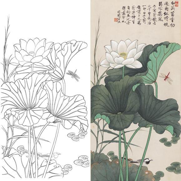 白描底稿-于非暗工笔竖幅四尺六尺花鸟-荷花蜻蜓-a079图片
