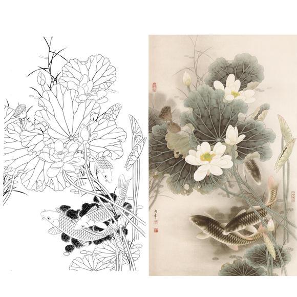 白描底稿-路雨年工笔竖幅花鸟-荷花鲤鱼-a008图片