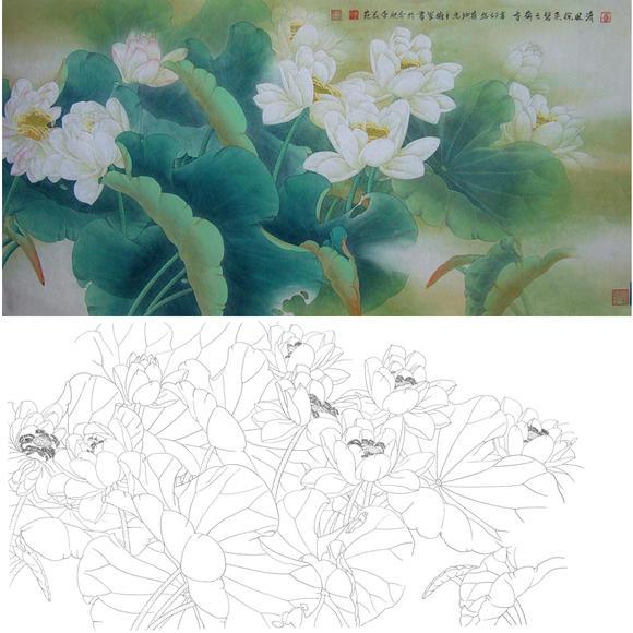 白描底稿-工笔横幅四尺六尺花鸟-荷花-a160图片