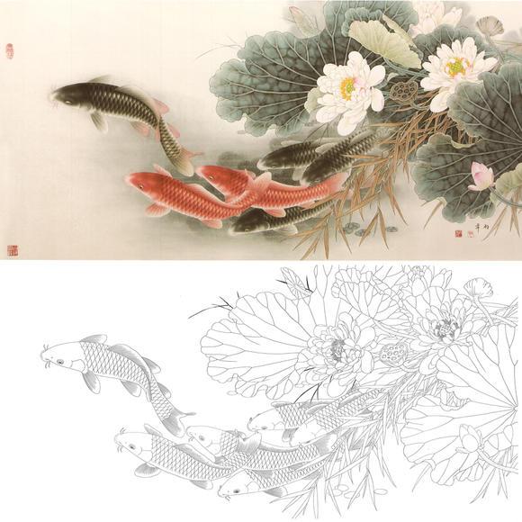 白描底稿-工笔花鸟-荷花鲤鱼-a157图片