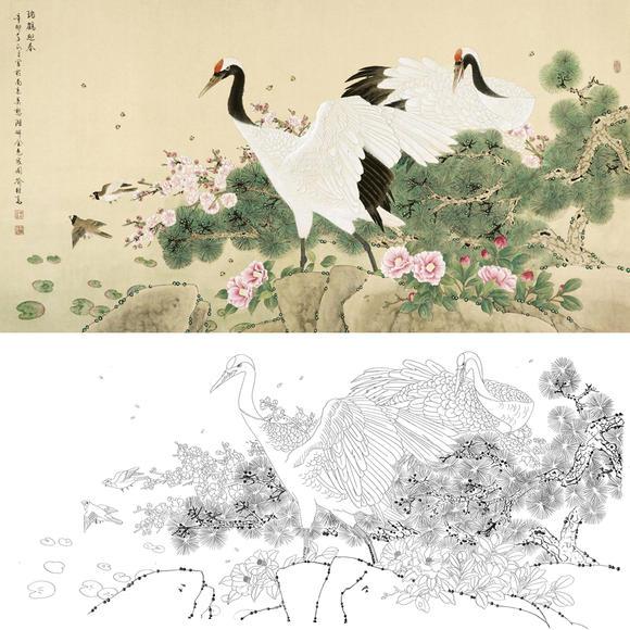 白描底稿-工笔花鸟-松鹤-a172